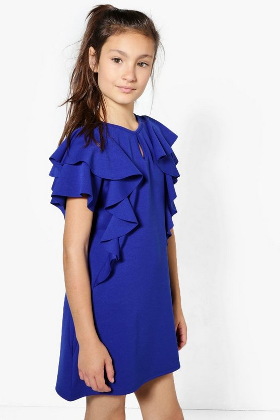 Gils Ruffle Front Shift Dress