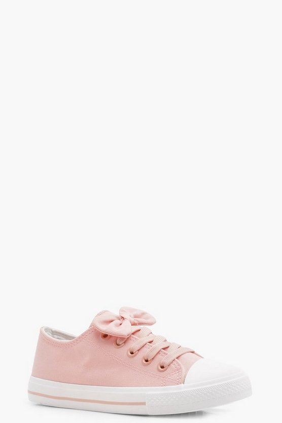 Girls Bow Trim Lace Up Canvas Pump