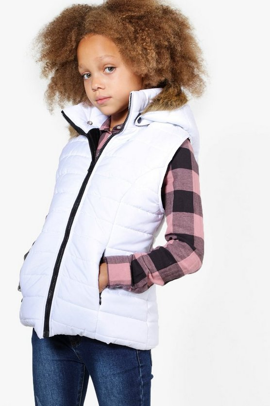 Girls Fully Padded Faux Fur Hood Gilet