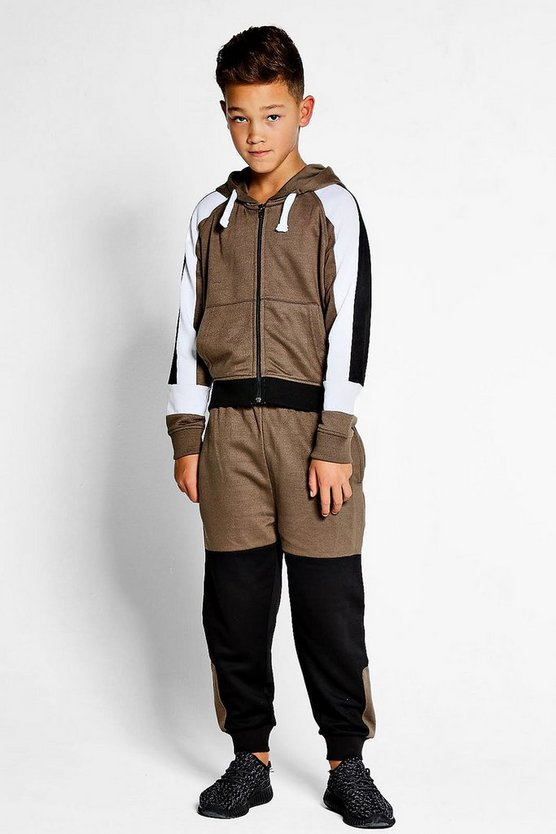 Boys Colour Block Khaki Track Suit