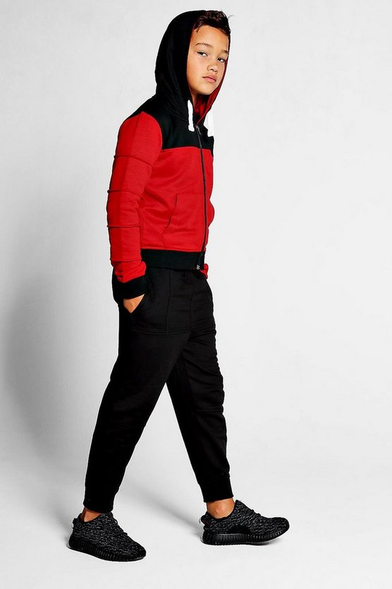 Boys Contrast Red Panel Tracksuit