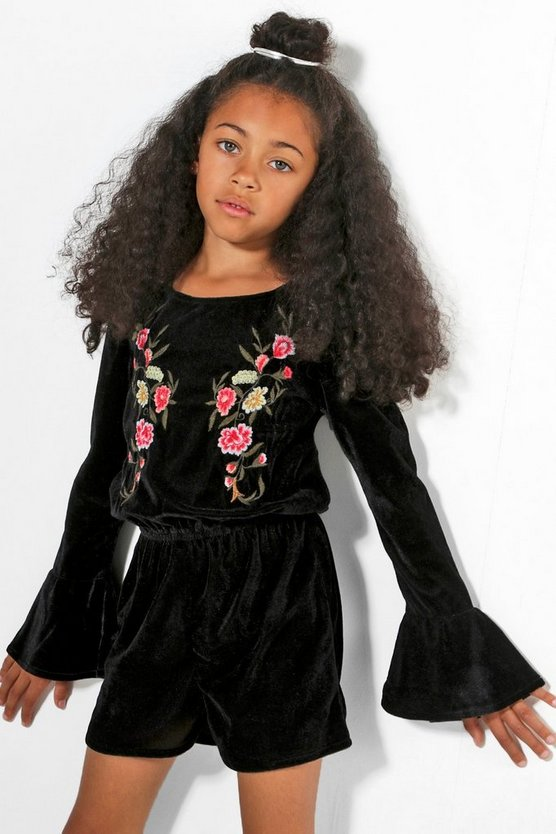 Girls Velvet Embroidered Playsuit