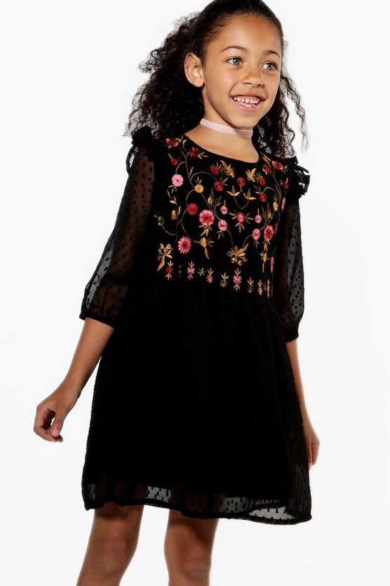Girls Embroidered Chest Ruffle Shoulder Dress
