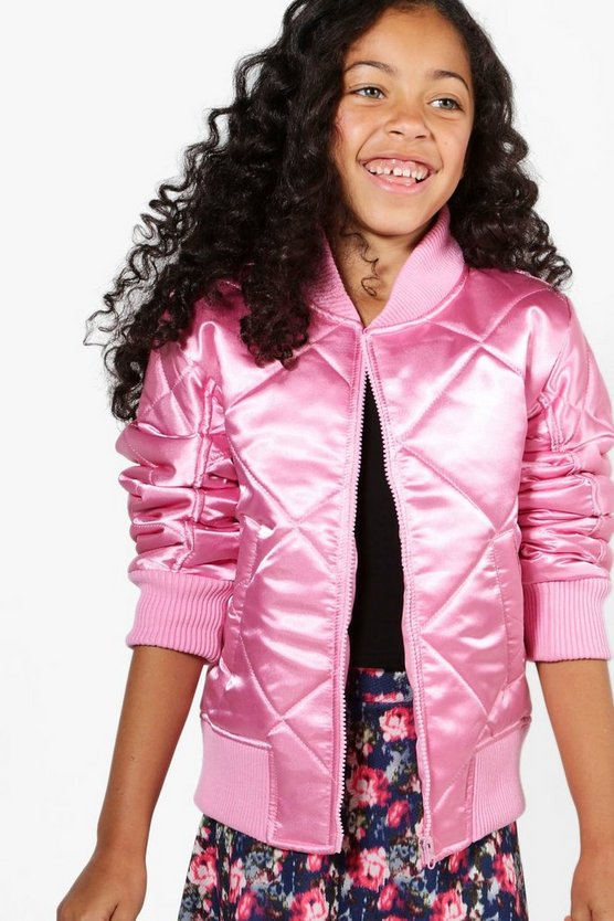 Girls Quilted Satin Bomber Jacket