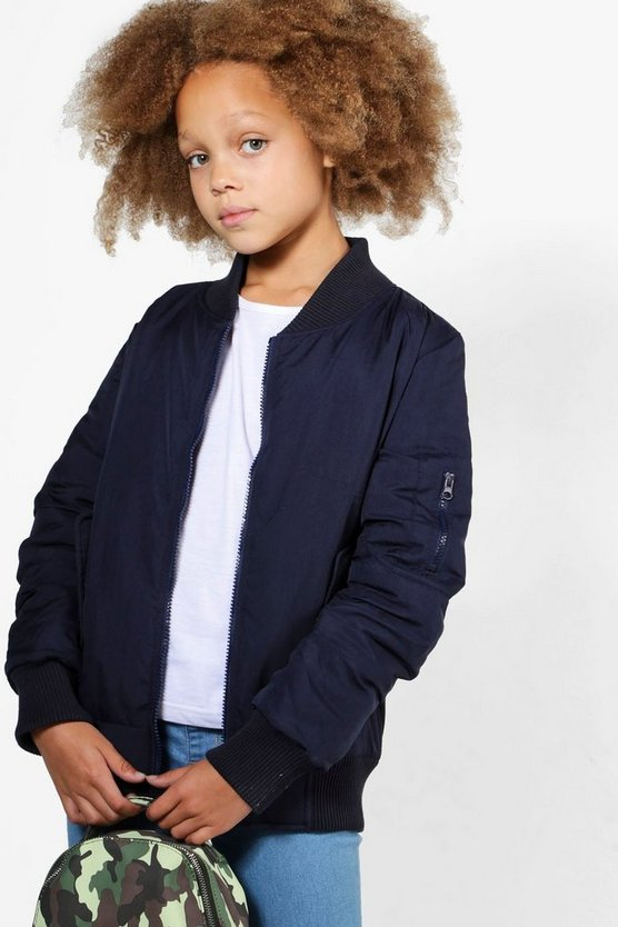 Girls Longline Bomber Jacket
