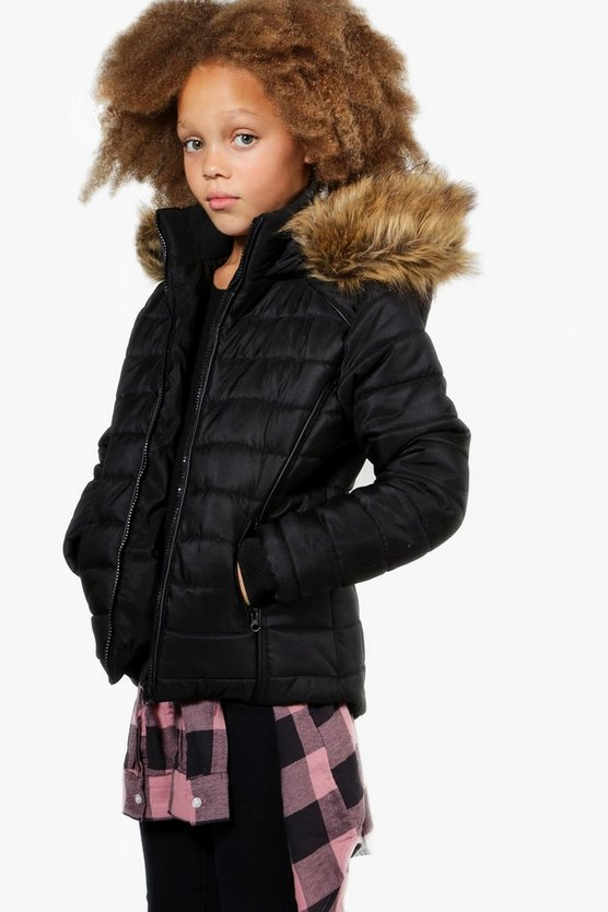 Girls Fully Padded Faux Fur Hooded Coat