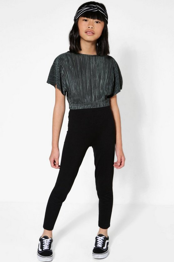 Girls Plisse Crop Top & Legging