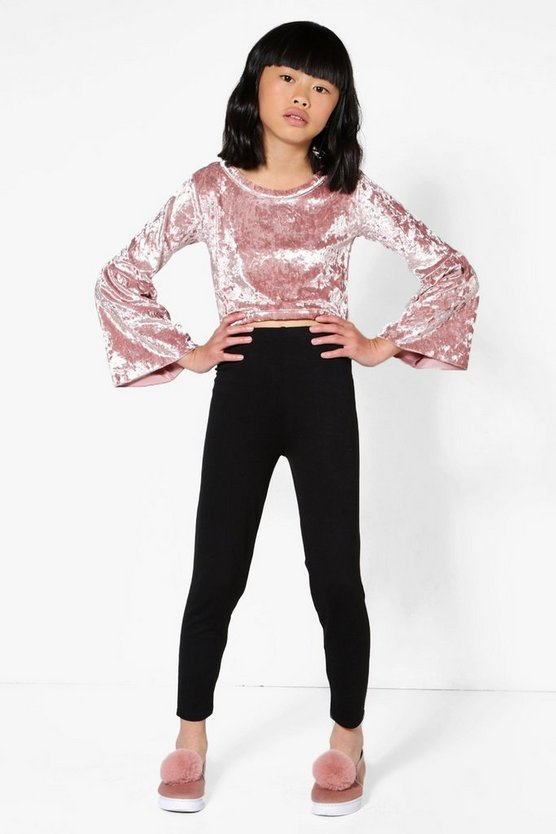 Girls Flare Sleeve Velour Top & Legging Set