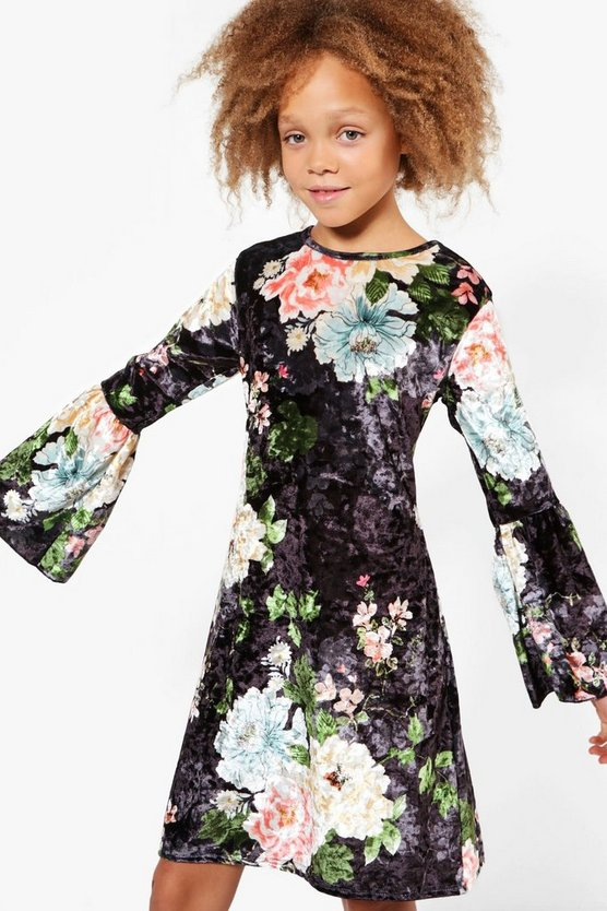 Girls Printed Floral Velour Wide Sleeve Dress
