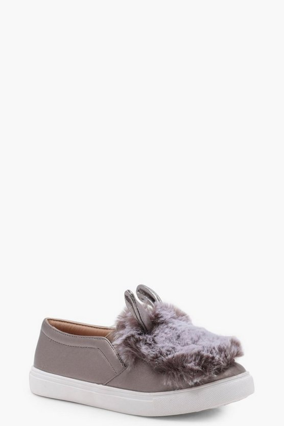 Girls Bunny Faux Fur Skater