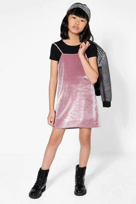 Girls High Neck Strap Velour Dress