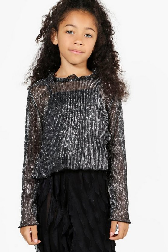 Girls Cropped Funnel Neck Sparkle Top