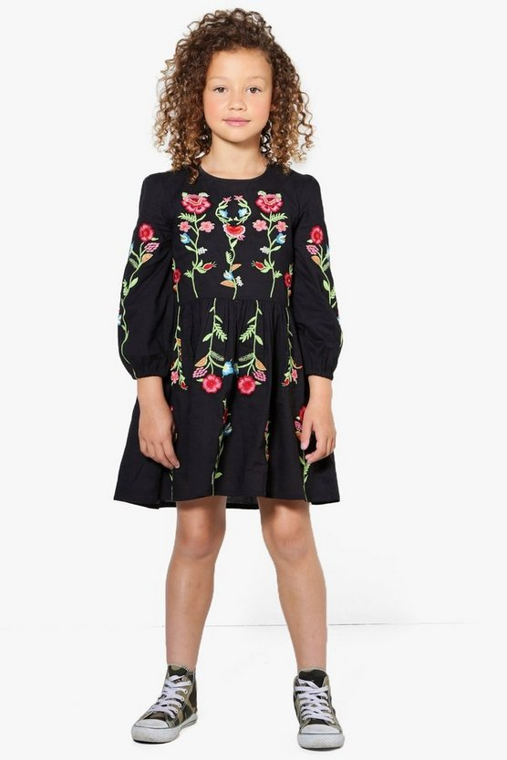 Girls Fully Embroidered Smock Dress