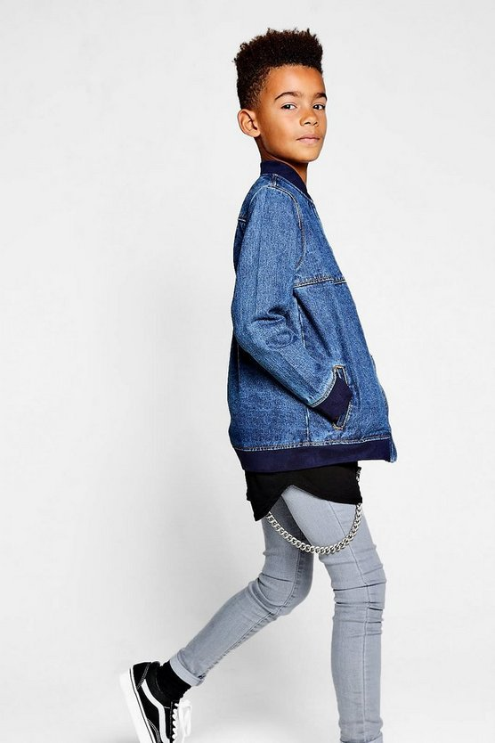 Boys Washed Denim Bomber Jacket