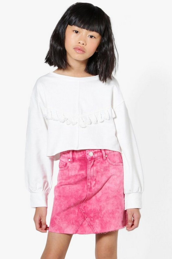 Girls Tassel Front Sweat