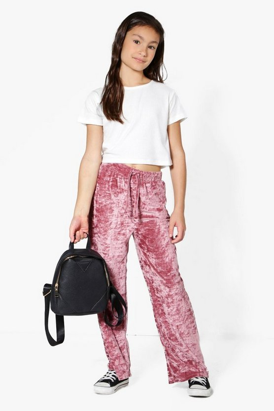 Girls Velour Jogger & Crop Set