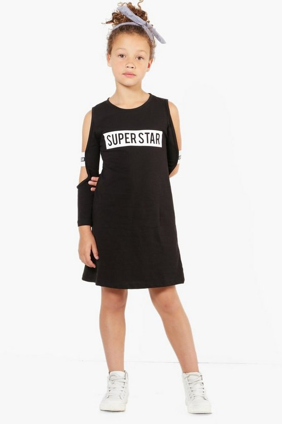Girls Superstar Tape Cold Shoulder Dress