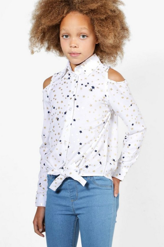 Girls Star Tie Front Top