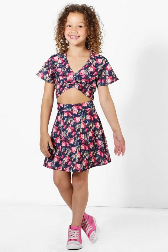 Girls Tie Knot Front Crop Top