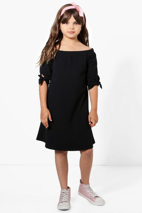 Girls Black Tie Sleeve Bardot Dress