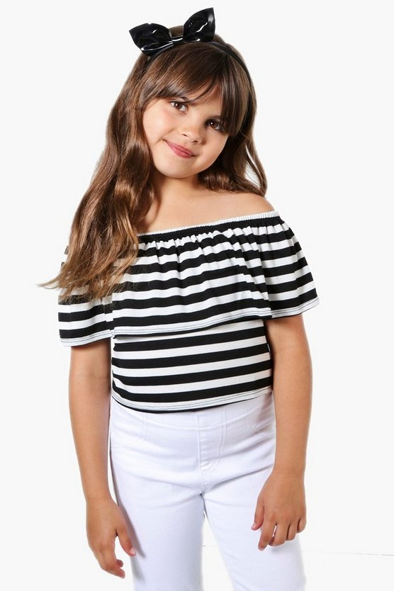 Girls Stripe Bardot Top