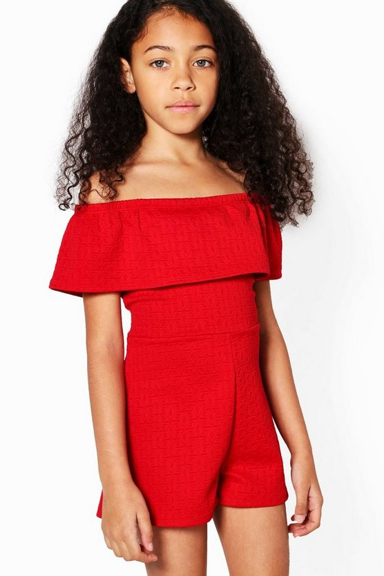 Girls Bardot Frill Playsuit