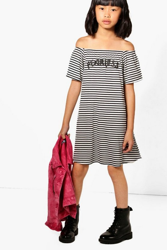 Girls Stripe Fearless Bardot Dress