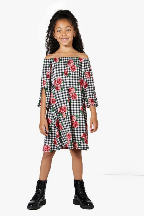 Girls Bardot Tie Sleeve Gingham Rose Dress