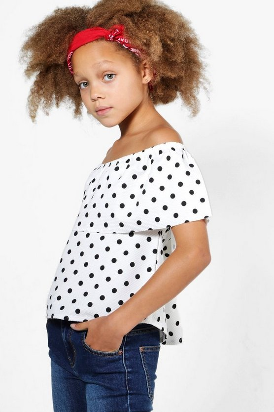 Girls Spotty Bardot Top