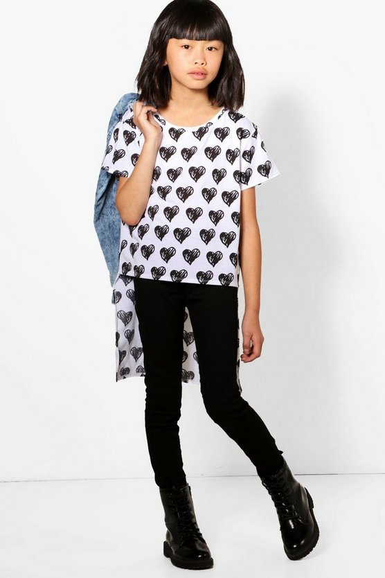 Girls Heart Print Step Back Hem Top