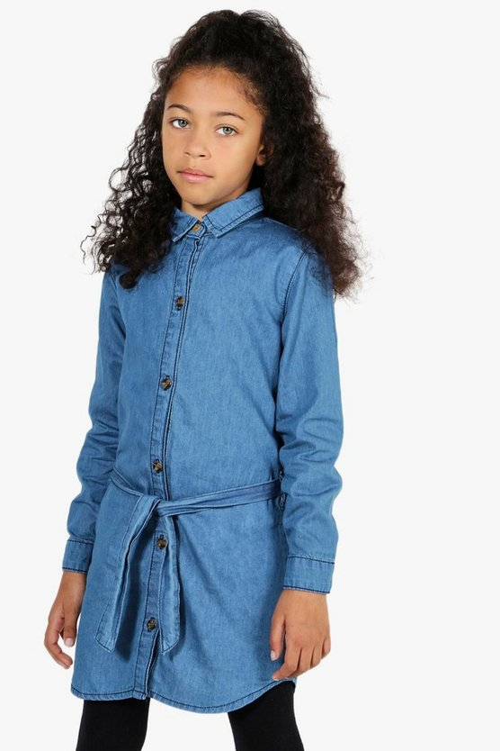 Girls Western Shirt Dress With Tie Belt