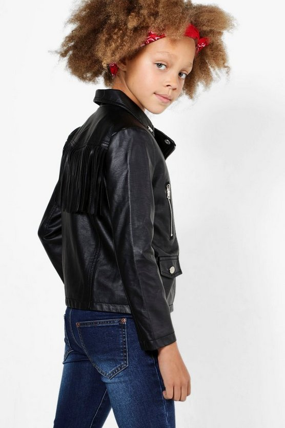 Girls Fringed Faux Leather Biker Jacket
