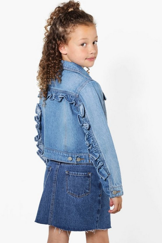 Girls Ruffle Denim Jacket