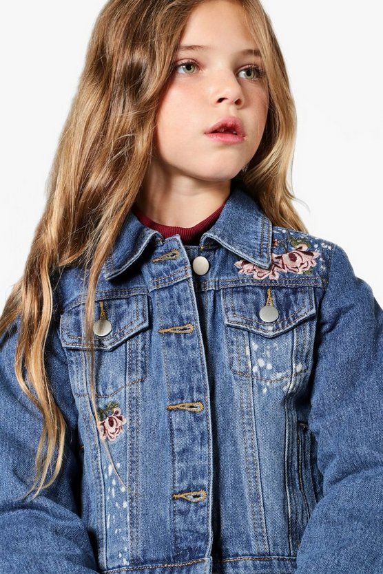 Girls Floral Embroidered Denim Jacket