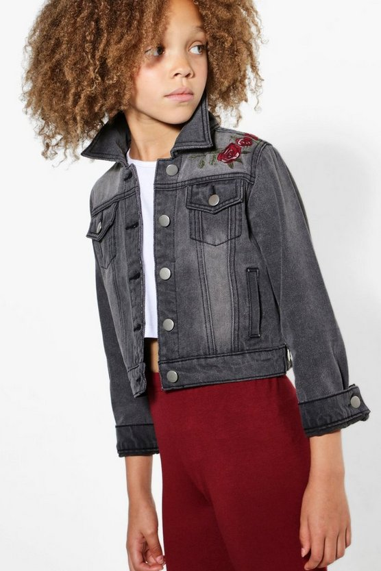 Girls Washed Grey Embroidered Jacket