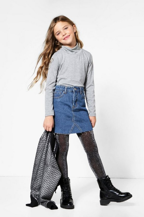Girls Frey Hem Denim Skirt