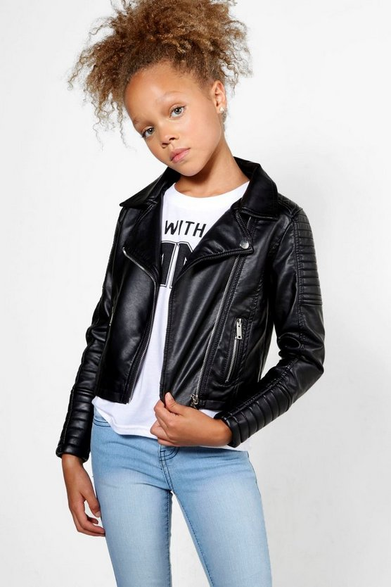 Girls Faux Fur Lined Biker Jacket