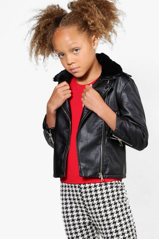 Girls Contrast Faux Fur Collar Biker Jacket