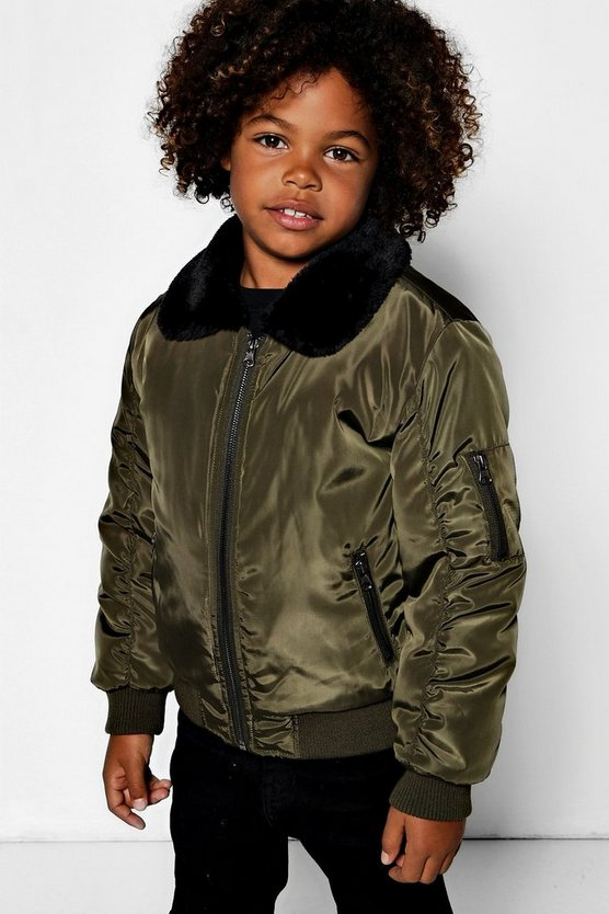 Boys Faux Fur Collar Bomber Jacket
