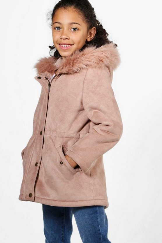 Girls Camo Faux Fur Trim Bonded Parka