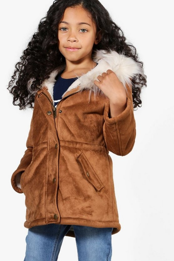 Girls Faux Fur Trim Bonded Suedette Parka