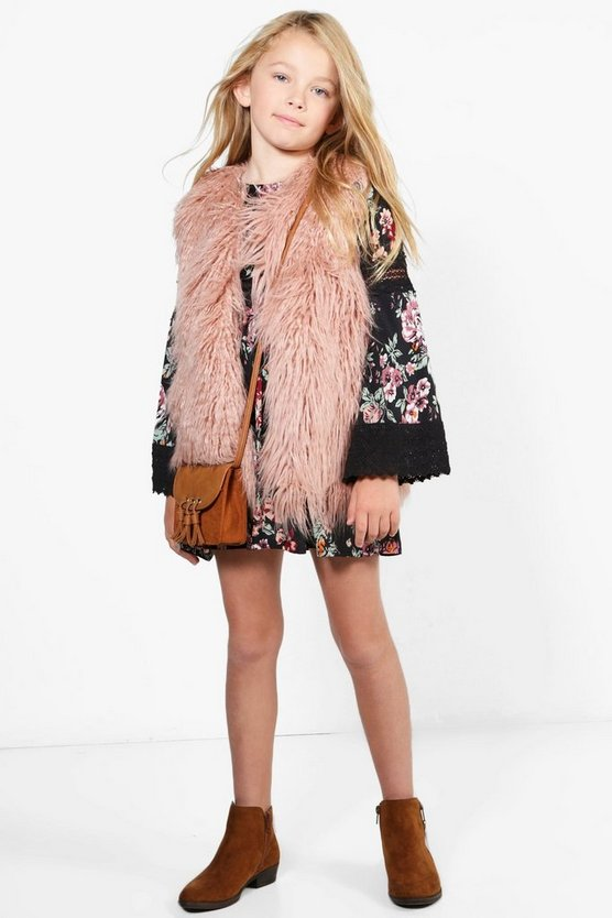 Girls Shaggy Faux Fur Gilet