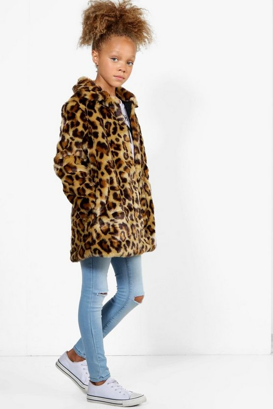 Girls Leopard Faux Fur Coat
