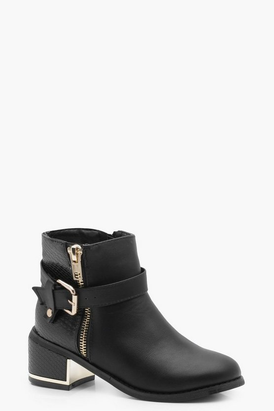Girls Zip and Buckle Trim Block Heel Boot