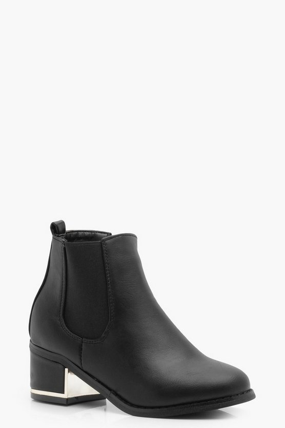 Girls Block Heel Chelsea Boot