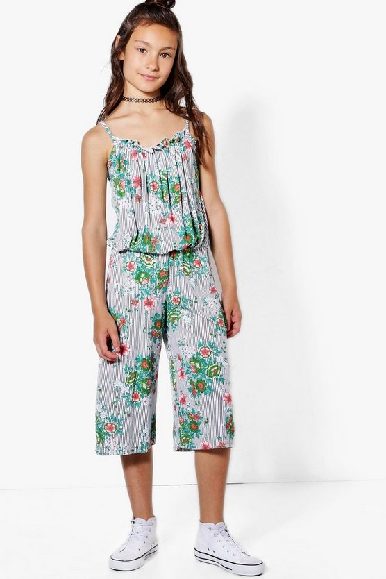 Girls Stripe & Floral Culotte Jumpsuit