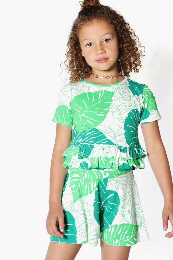 Girls Palm Print Top & Short Set
