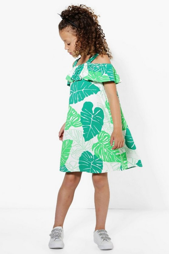Girls Palm Print Ruffle Sun Dress