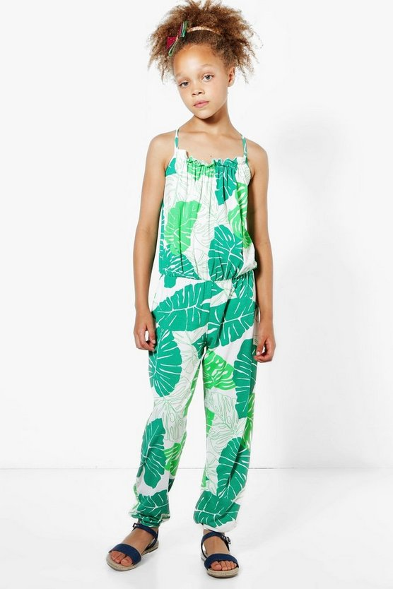 Girls Ruffle Palm Print Jumpsuit