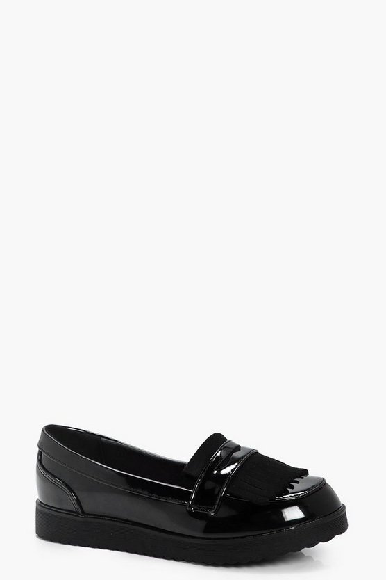 Girls Fringe Trim Chunky Loafer